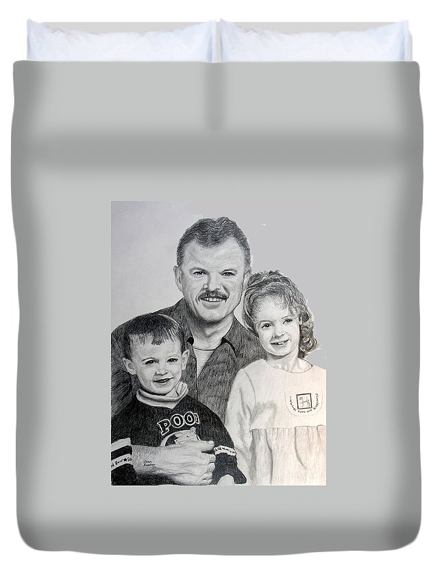 Portrait Duvet Cover featuring the drawing John Megan And Joey by Stan Hamilton