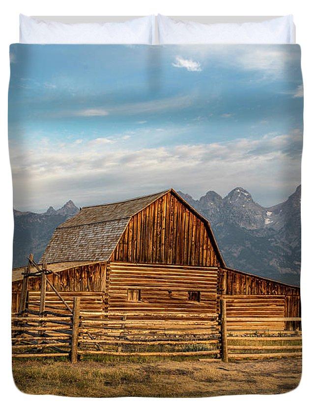 Mormon Row Duvet Cover featuring the photograph John Moulton Barn Sunrise by John McGraw