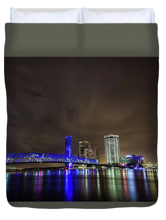 Jacksonville Duvet Cover featuring the photograph John T. Alsop Bridge by Kenny Thomas
