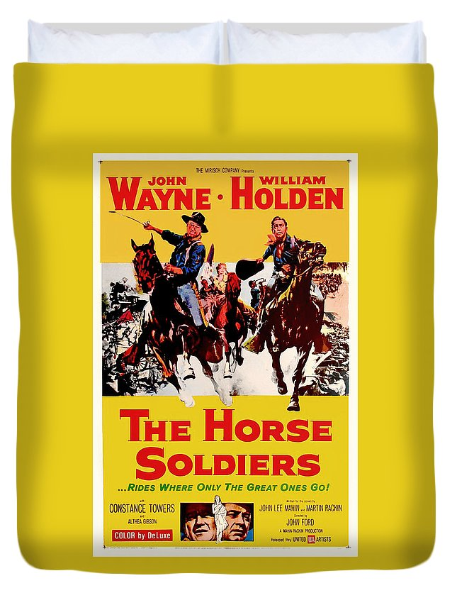 Movie Duvet Cover featuring the mixed media John Wayne And William Holden In The Horse Soldiers 1959 by Mountain Dreams