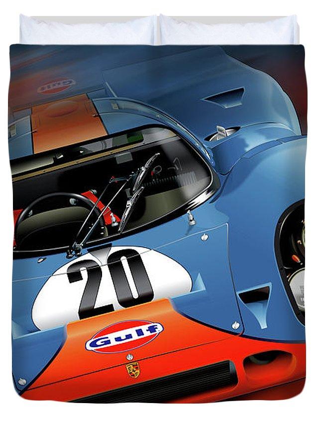 John Wyer's Gulf Porsche 917 Duvet Cover featuring the digital art John Wyer's Gulf Porsche 917 by Alain Jamar