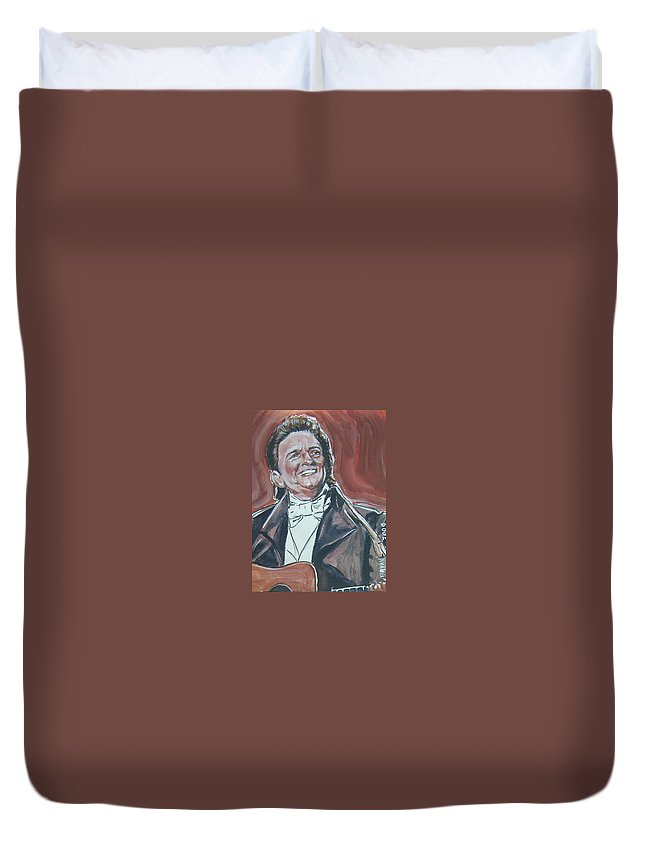 Johnny Cash Duvet Cover featuring the painting Johnny Cash by Bryan Bustard