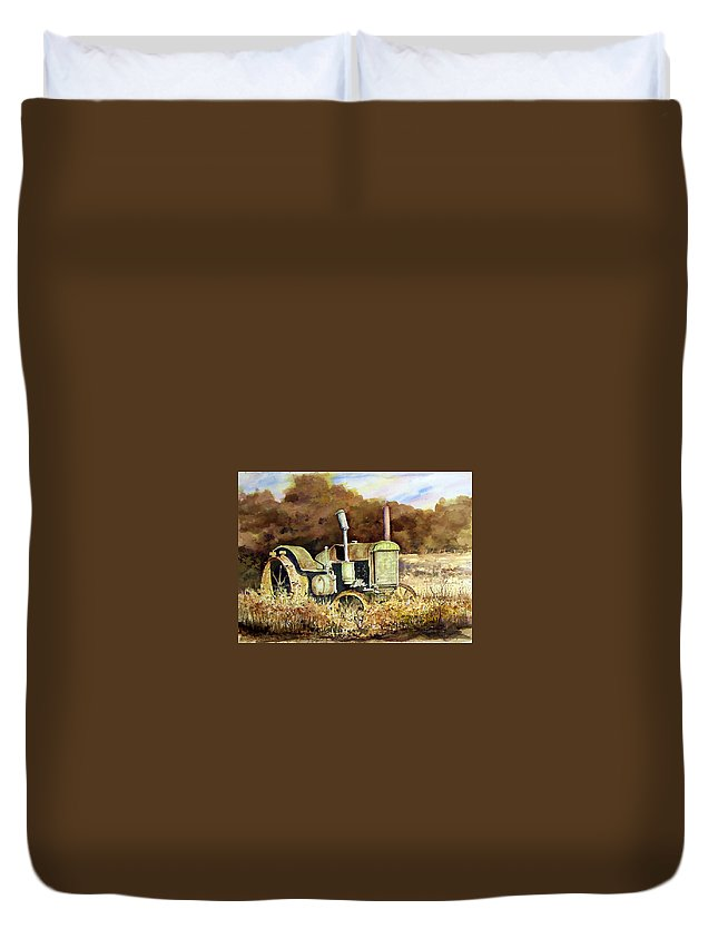 Tractor Duvet Cover featuring the painting Johnny Popper by Sam Sidders