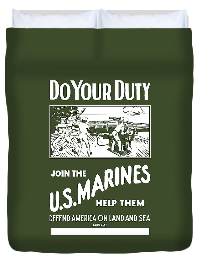 Marine Duvet Cover featuring the painting Join The Us Marines by War Is Hell Store