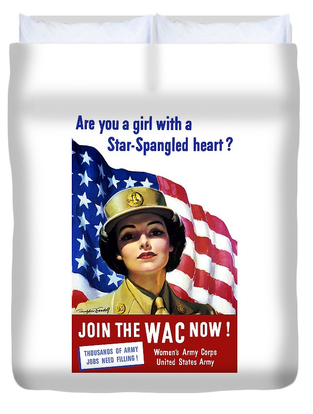 Wac Duvet Cover featuring the painting Join The Wac Now - World War Two by War Is Hell Store