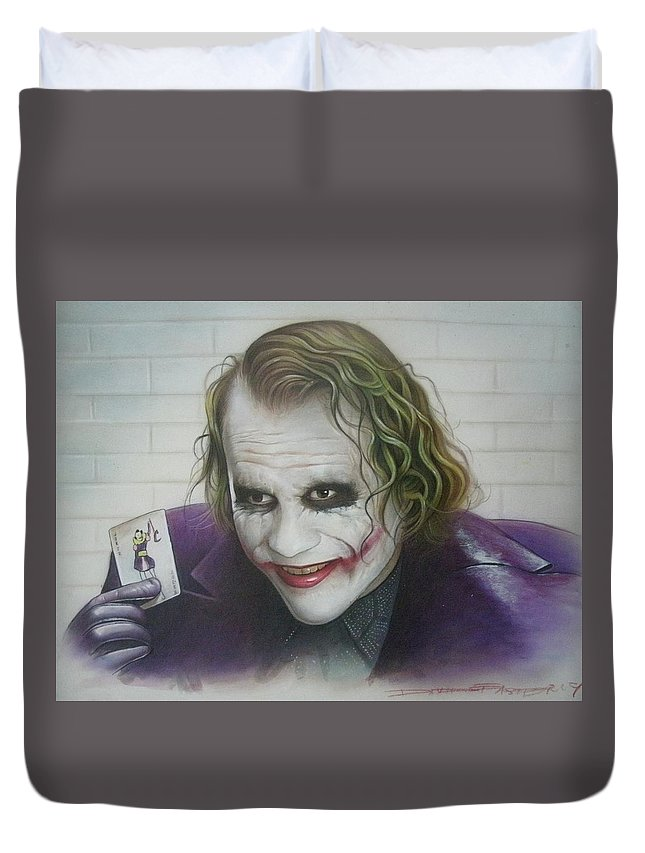 Batman Duvet Cover featuring the painting Joker by David Easterly