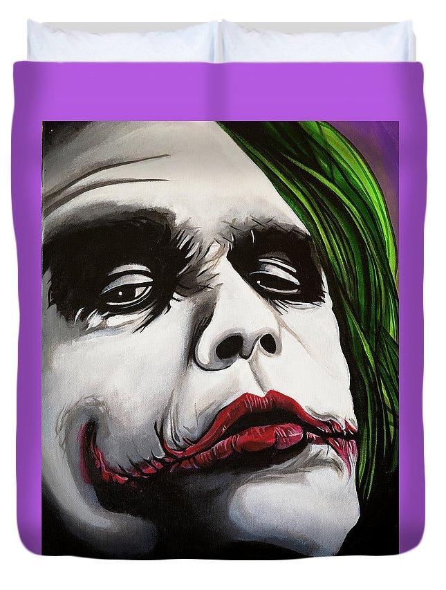 Joker Duvet Cover featuring the painting Joker by Matt Brown