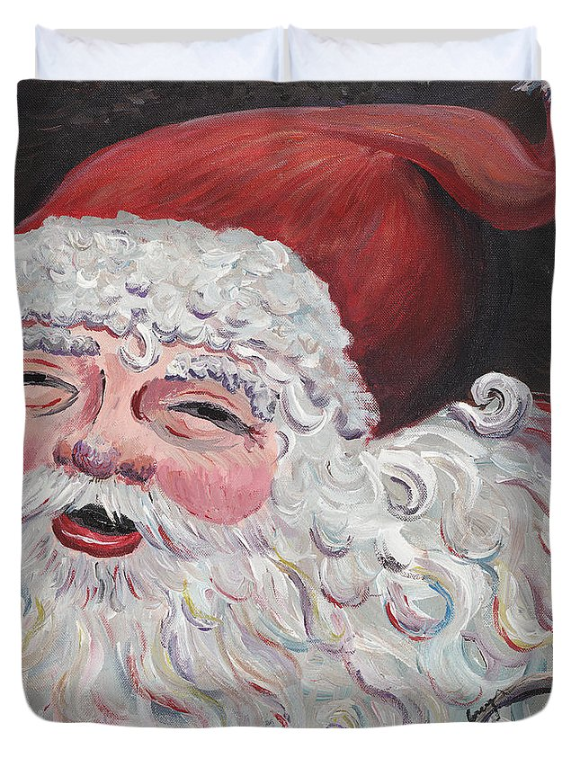Santa Duvet Cover featuring the painting Jolly Santa by Nadine Rippelmeyer