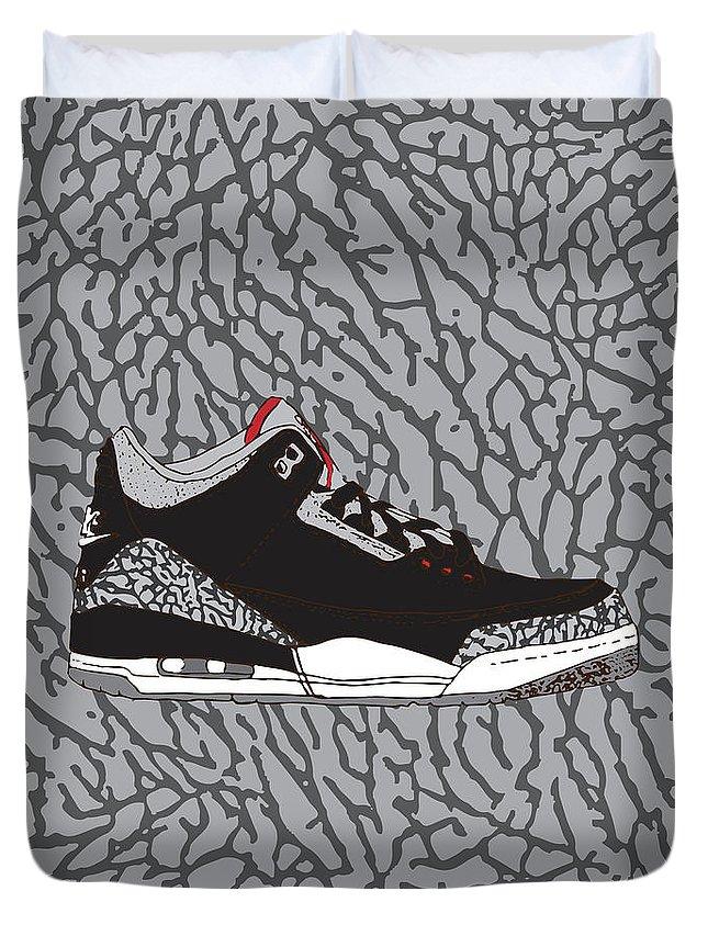 75226e4df681 Jordan 3 Black Cement Duvet Cover featuring the digital art Jordan 3 Black  Cement by Letmedraw