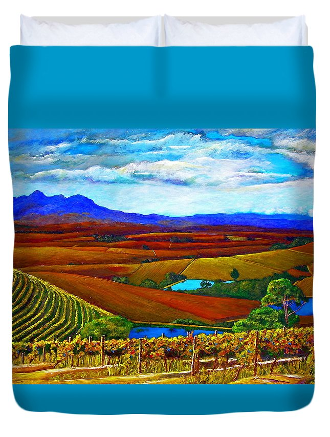 Vineyard Duvet Cover featuring the painting Jordan Vineyard by Michael Durst