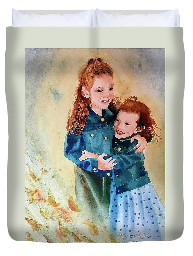 Painting Duvet Cover featuring the painting Jordyn And Kayden by Karen Stark