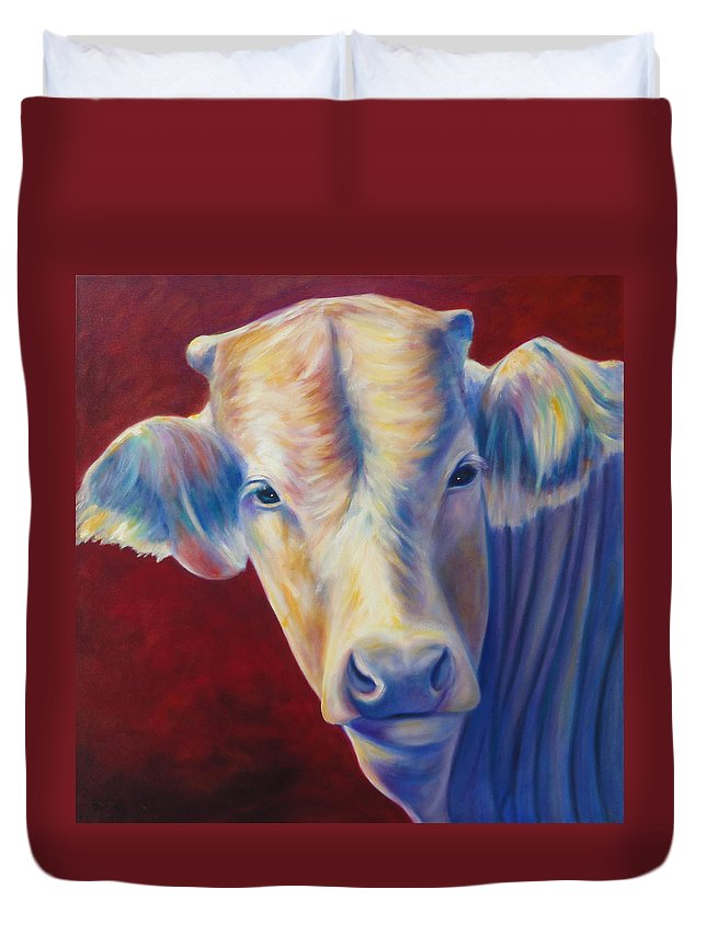 Bull Duvet Cover featuring the painting Jorge by Shannon Grissom