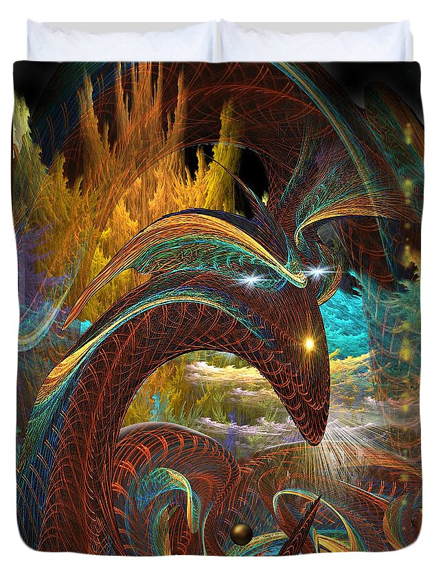 Phil Sadler Duvet Cover featuring the digital art Jorrmungand by Phil Sadler