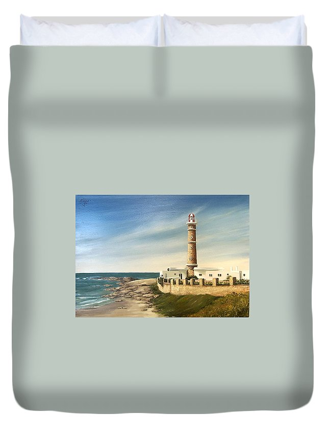 Landscape Seascape Lighthouse Uruguay Beach Sea Water Duvet Cover featuring the painting Jose Ignacio Lighthouse Evening by Natalia Tejera