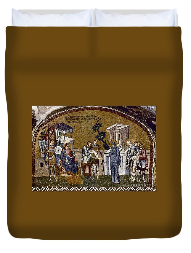 14th Century Duvet Cover featuring the photograph Joseph And Mary by Granger