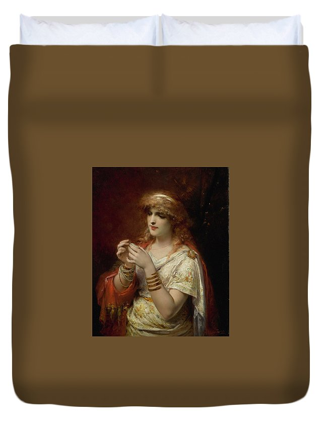 Joseph Coomans 1816-1889 The Amulet Duvet Cover featuring the painting Joseph Coomans by MotionAge Designs