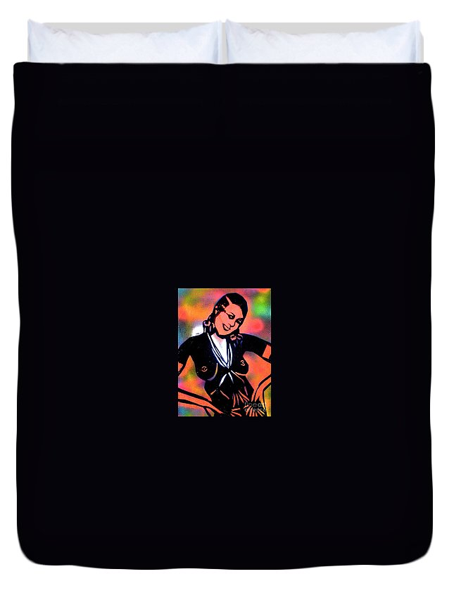 Jazz Duvet Cover featuring the painting Josephine Baker by Tony B Conscious