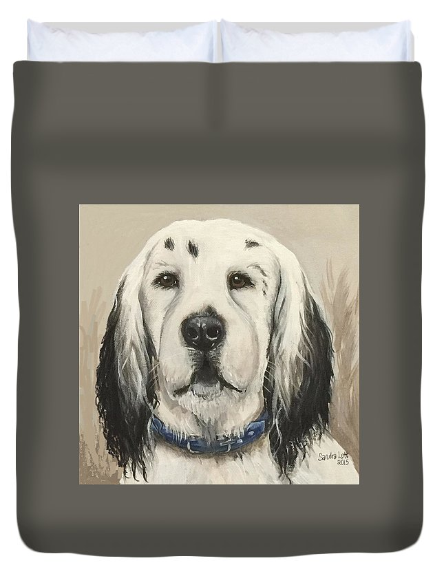 Pointer Duvet Cover featuring the painting Josh by Sandra Lett
