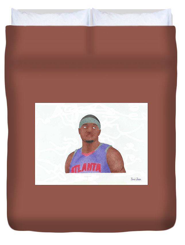 Basketball Duvet Cover featuring the drawing Josh Smith by Toni Jaso
