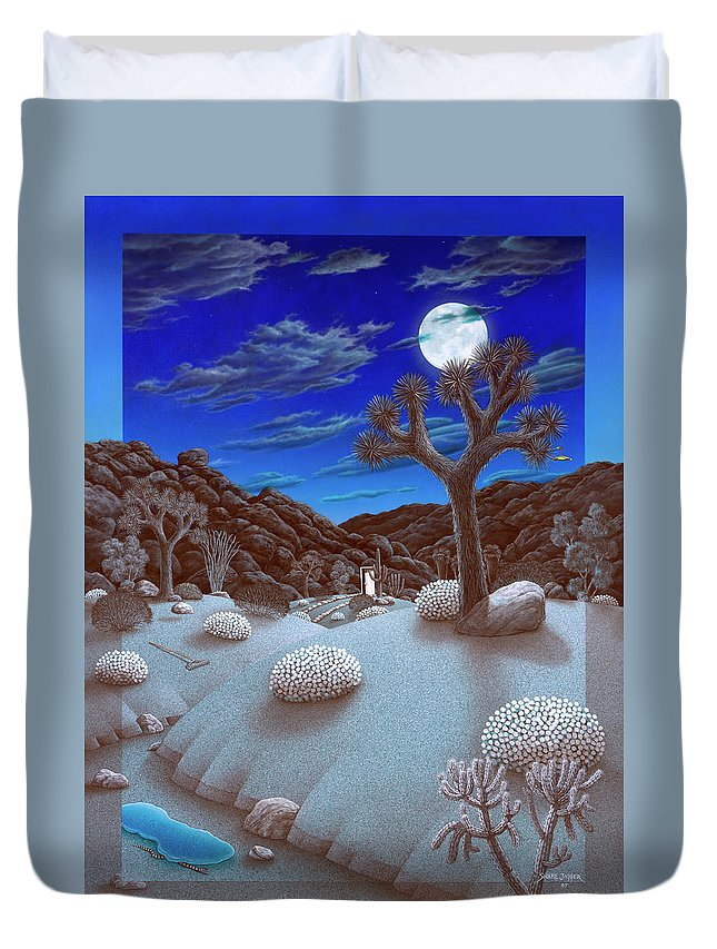 Landscape Duvet Cover featuring the painting Joshua Tree At Night by Snake Jagger