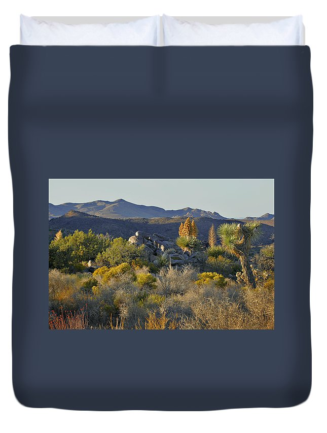 Sunset Duvet Cover featuring the photograph Joshua Tree National Park in California by Alexandra Till