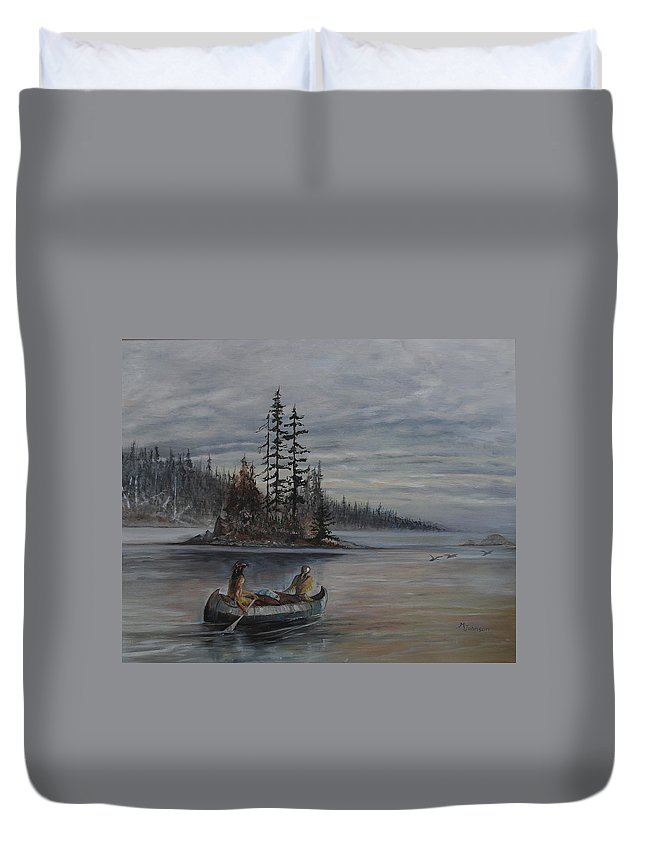 First Nation Duvet Cover featuring the painting Journey - Lmj by Ruth Kamenev