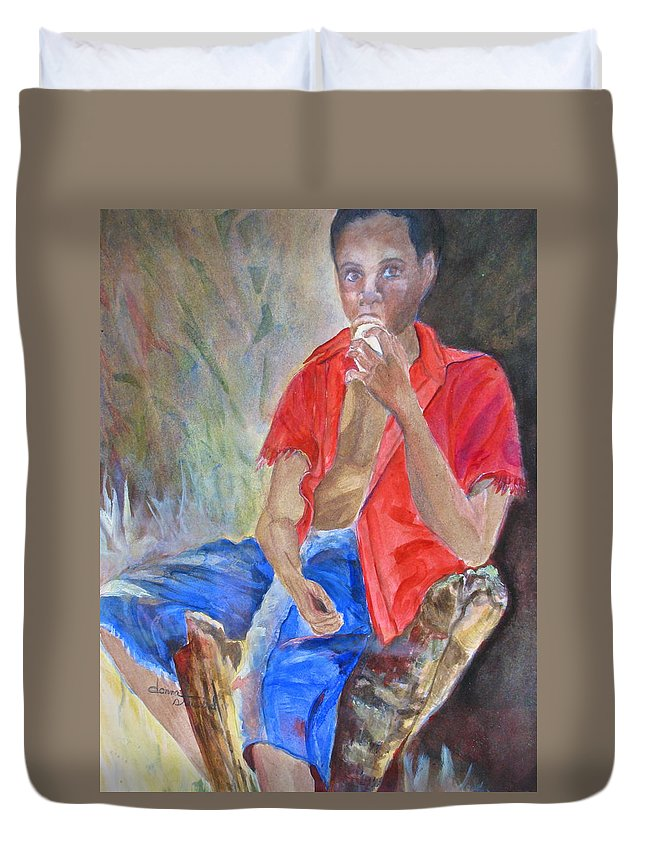 Islnd Boy Duvet Cover featuring the painting Journey Cake by Donna Steward