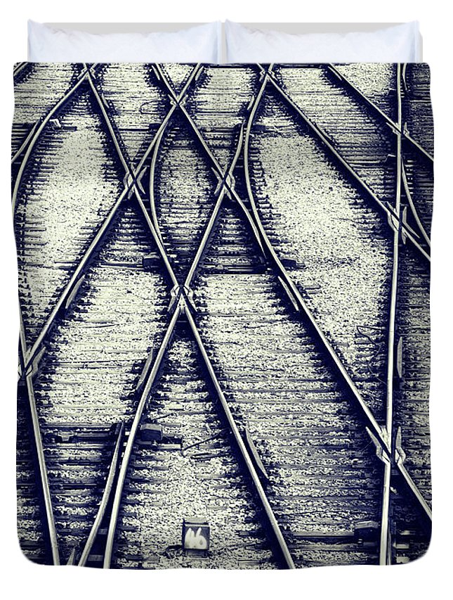 Railway Duvet Cover featuring the photograph Journey Marks by Wayne Sherriff