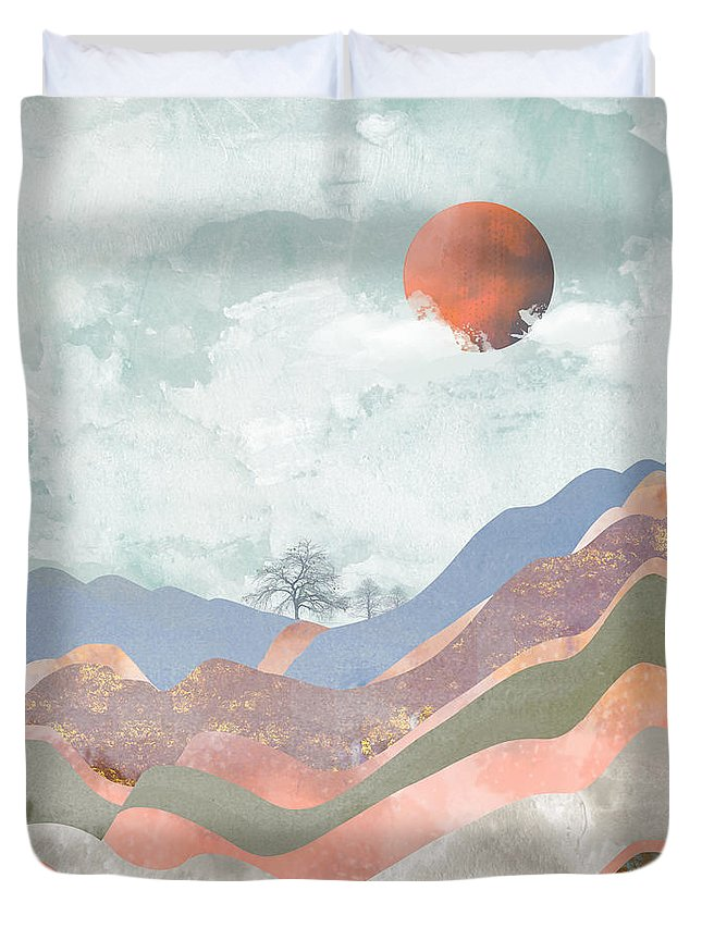 Clouds Duvet Cover featuring the digital art Journey To The Clouds by Katherine Smit