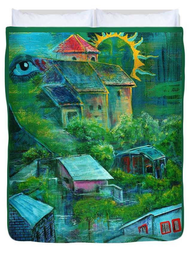 Journey Duvet Cover featuring the painting Journey's End by Dennis Tawes