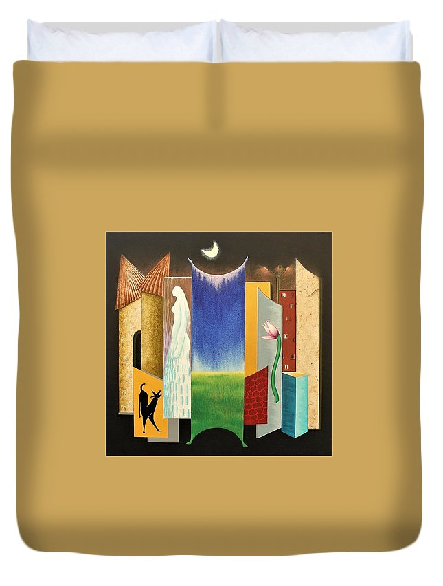 Romantic Duvet Cover featuring the painting Journy -13 by Raju Bose