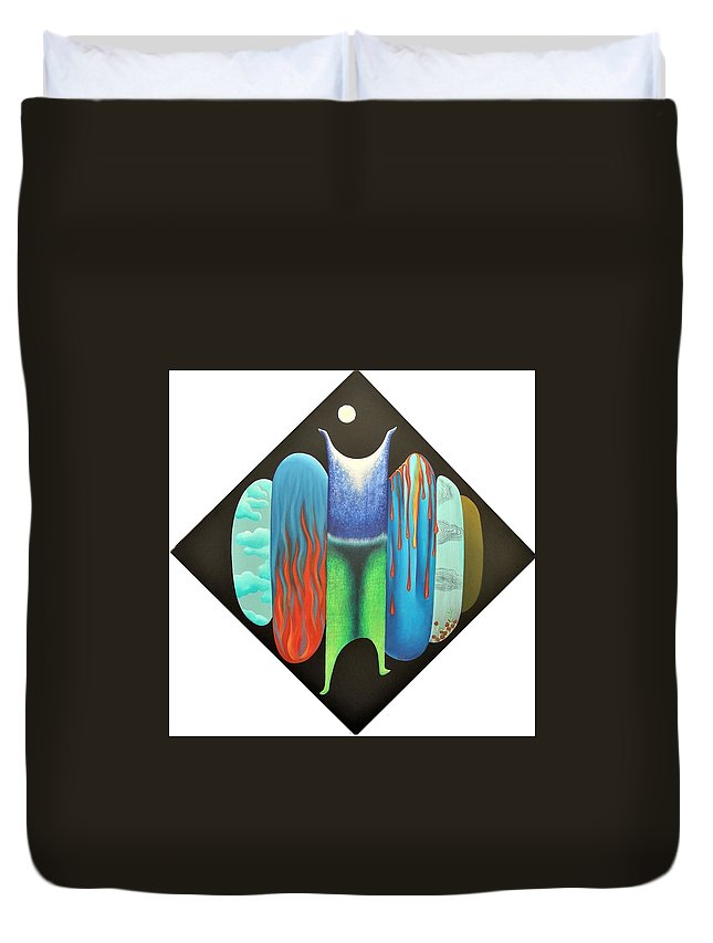 Romantic Duvet Cover featuring the painting Journy- 15 by Raju Bose