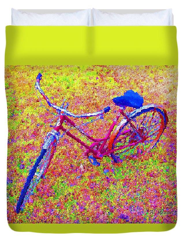 Bike Duvet Cover featuring the photograph Joy, The Bike Ride by Albert Stewart