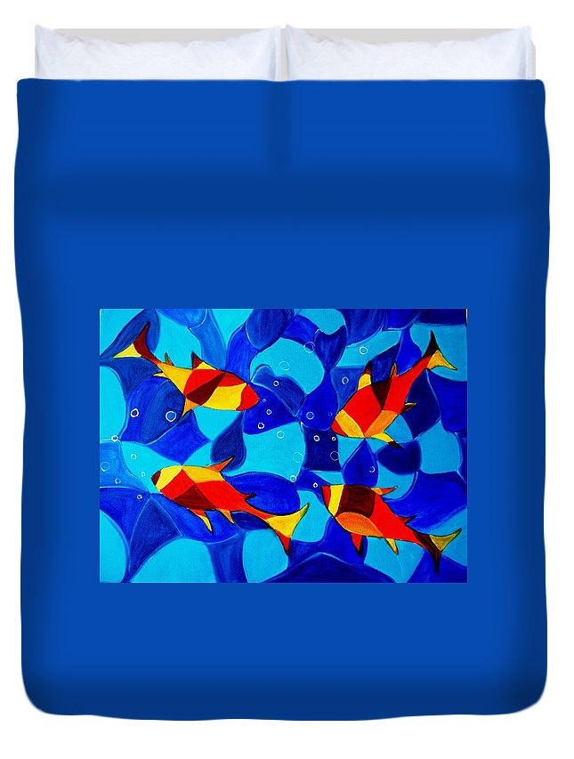 Abstract.acrylic.fish.bubbles.art.painting.modern.contemporary.popblue Red Bubbles Yellow Landscape Duvet Cover featuring the painting Joy Fish Abstract by Manjiri Kanvinde