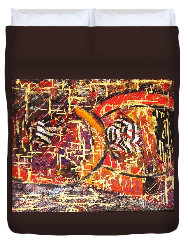 Acrylic Abstract Duvet Cover featuring the painting Joy Of Life by Yael VanGruber