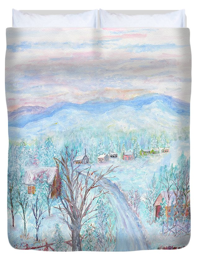 Winter Duvet Cover featuring the painting Joy of Winter by Ben Kiger