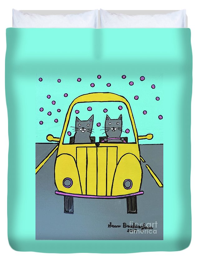 Cats Duvet Cover featuring the painting Joyride by Sean Brushingham