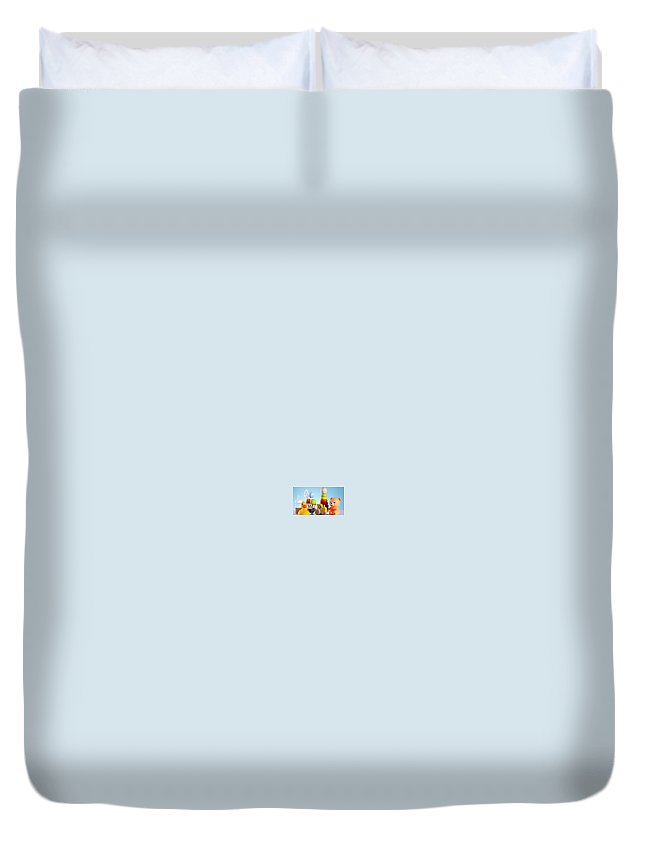 Duvet Cover featuring the relief Joys by Maha Omara