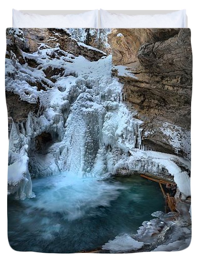 Johnston Canyon Duvet Cover featuring the photograph Johnston Canyon Winter Delight by Adam Jewell
