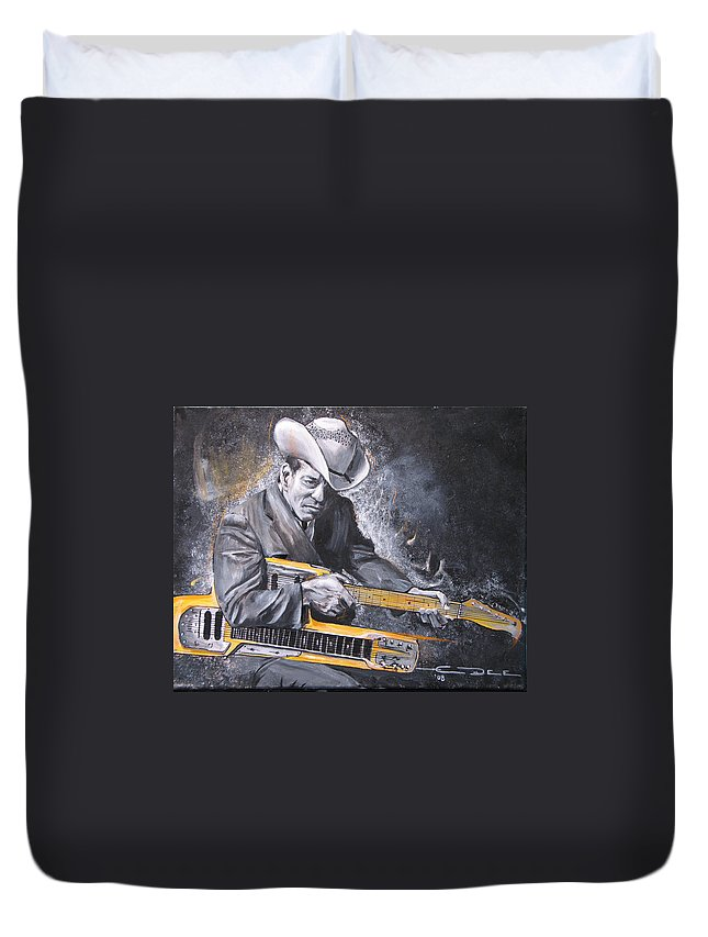 Jr. Brown Duvet Cover featuring the painting Jr. Brown by Eric Dee