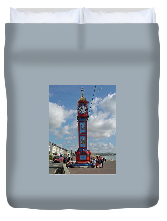 Seafront Duvet Cover featuring the photograph Jubilee Clock - Weymouth by Rod Johnson