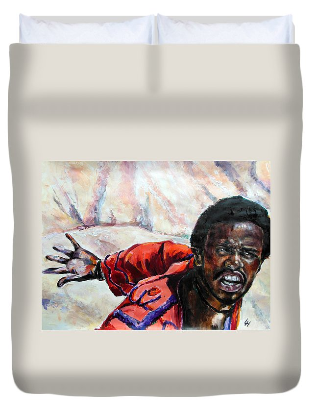 Jesus Christ Superstar Duvet Cover featuring the painting Judas - Too Far by Lucia Hoogervorst