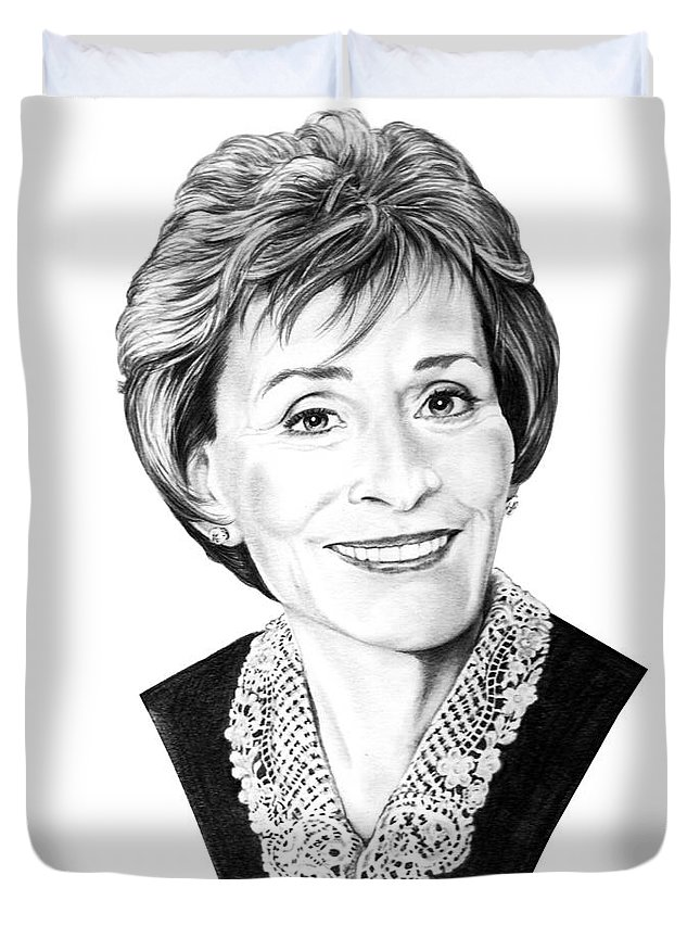 Pencil Duvet Cover featuring the drawing Judge Judith Sheindlin by Murphy Elliott