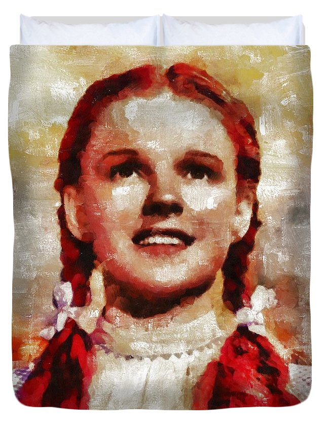 Hollywood Duvet Cover featuring the painting Judy Garland, Vintage Actress By Mb by Mary Bassett