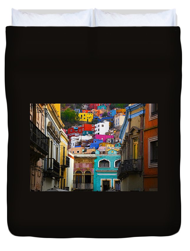 Architecture Duvet Cover featuring the photograph Juegos in Guanajuato by Skip Hunt