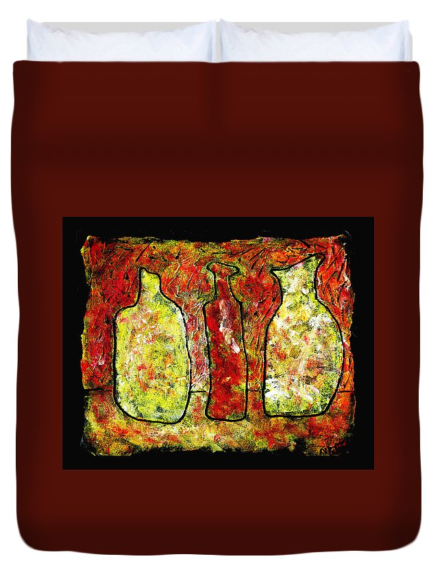 Jugs Duvet Cover featuring the painting Jugs by Wayne Potrafka