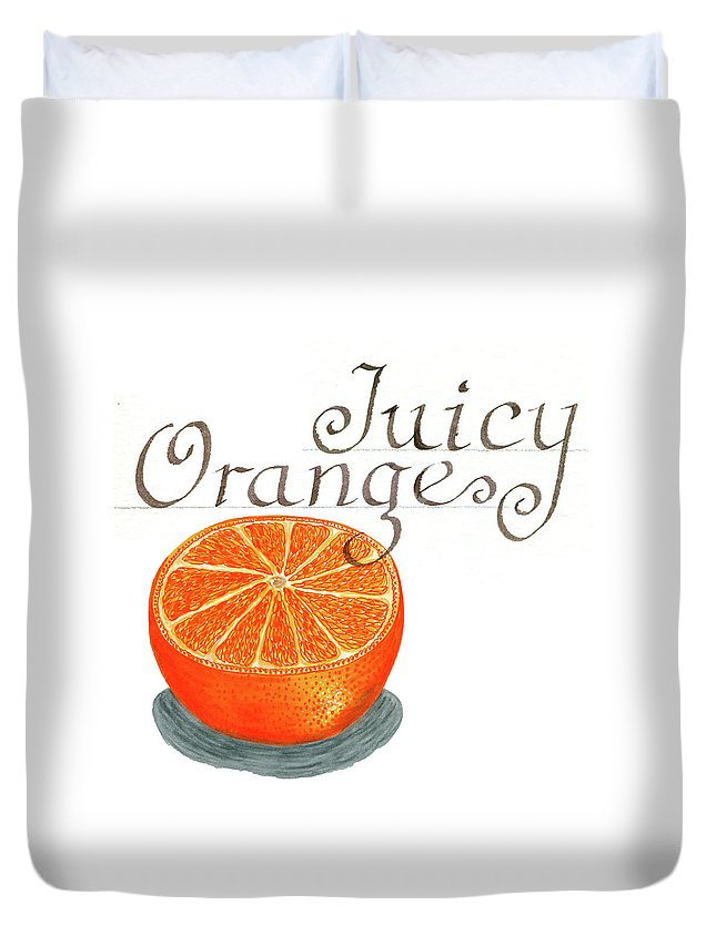 Watercolor Painting Duvet Cover featuring the painting Juicy Orange by Erin Sparler