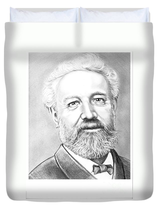 Jules Verne Duvet Cover featuring the drawing Jules Verne by Murphy Elliott