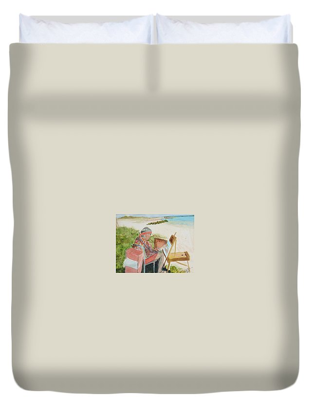 Painter Duvet Cover featuring the painting Julia Painting At Boynton Inlet Beach by Donna Walsh
