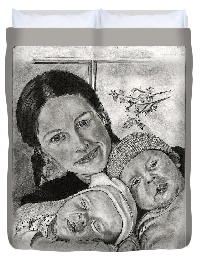 Julia Robert's With Her Twins Duvet Cover featuring the drawing Julia Roberts And The Twins by Annette Kinship